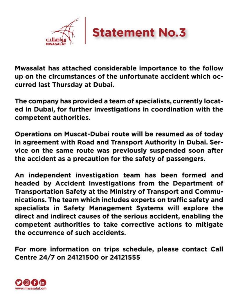 Oman Latest News : Mwasalat resumes Muscat-Dubai service after crash