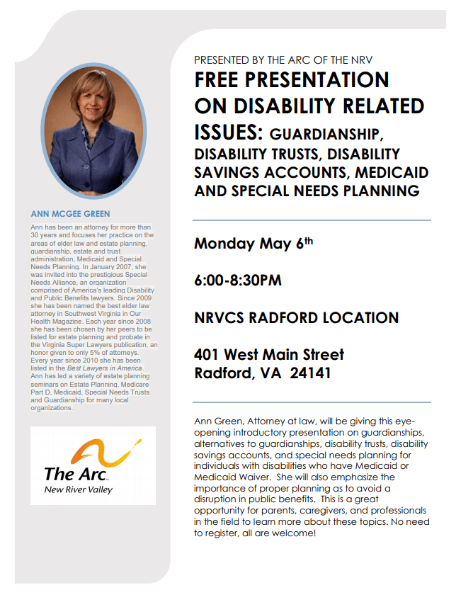 Legal Disability Issues Presentation with Ann Green flyer