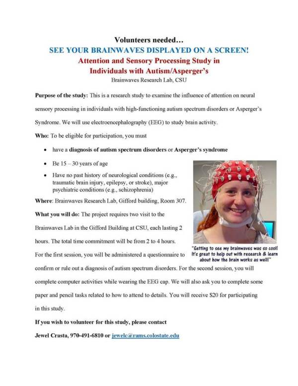 CSU Autism Aspergers Study 2017 in Fort Collins, Colorado. Contact Jewel Crasta at jewelc@rams.colostate.edu or 970-491-6810 to volunteer for this study.