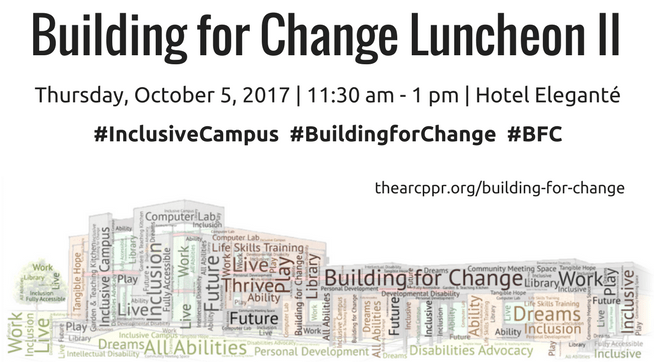 Building for Change Lunch II, Thursday, October 5, 2017, 11:30 am to 1:00 pm, Hotel Elegante, 2886 S. Circle Dr., Colorado Springs, CO 80906