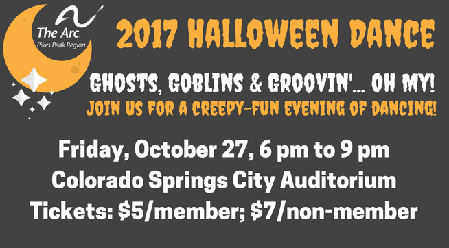 2017 Halloween Dance, Friday, October 27, 6-9 pm, Colorado Springs City Auditorium, tickets are $5/member; $7/nonmember
