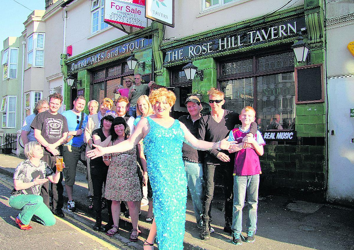 Regulars take part in an earlier protest to keep the Rose Hill Tavern open