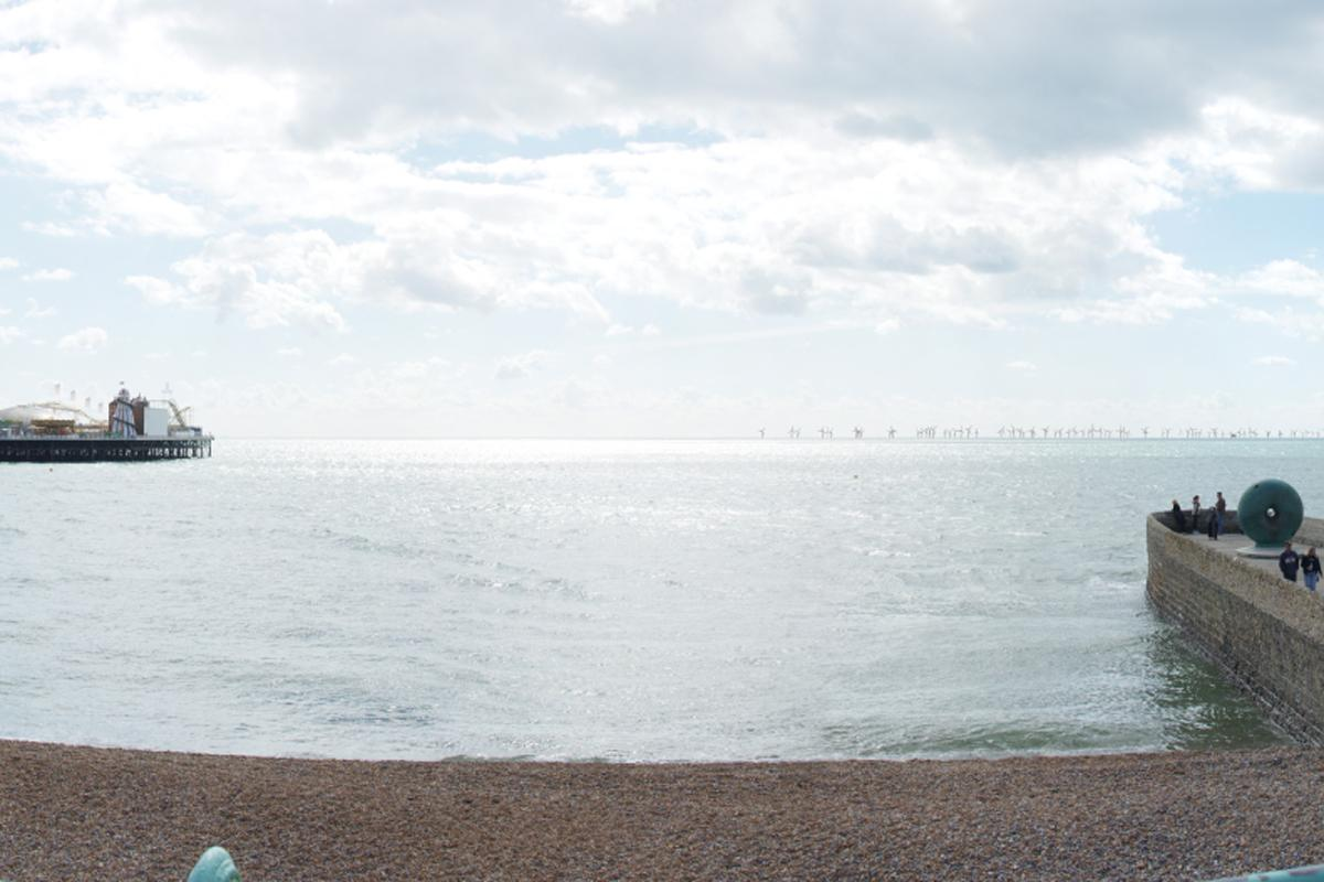The view from Brighton of Rampion Offshore Wind Farm