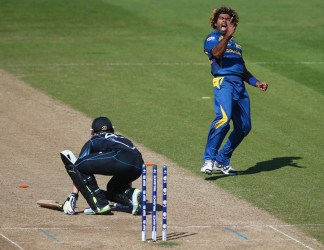 Lasith Malinga is ecstatic after dismissing Brendon McCullum