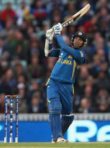 Kumar Sangakkara lofts down the ground during his unbeaten hundred