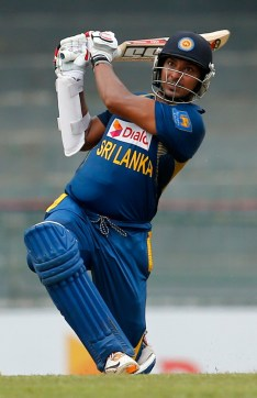 Kumar Sangakkara smacks one over long-on