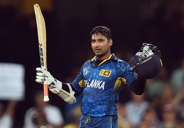 Sri Lanka batsman Kumar Sangakkara celebrates scoring his century against Australia during their 2015 Cricket World Cup Group A match in Sydney on March 8, 2015.    AFP PHOTO / William WEST   --IMAGE RESTRICTED TO EDITORIAL USE - STRICTLY NO COMMERCIAL USE--        (Photo credit should read WILLIAM WEST/AFP/Getty Images)
