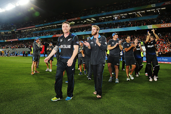 AUCKLAND, NEW ZEALAND - MARCH 24: Brendon McCullum of New Zealand and the team celebrate after winning during the 2015 Cricket World Cup Semi Final match between New Zealand and South Africa at Eden Park on March 24, 2015 in Auckland, New Zealand. (Photo by Anthony Au-Yeung-IDI/IDI via Getty Images)