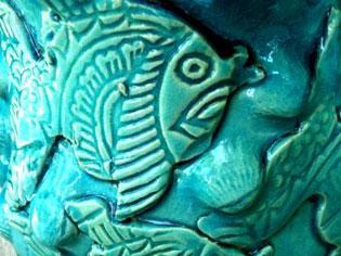 אגרטל דגים בצבע טורקיז מקרמיקה | סטודיו לאומנות איריס עשת כהן