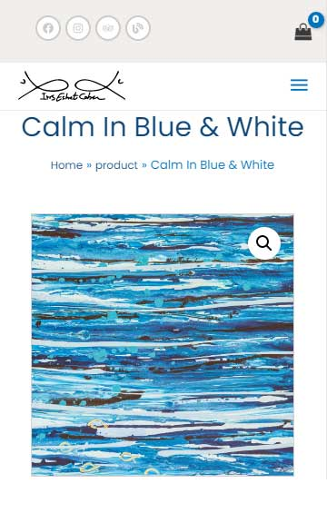 Calm In Blue & White - Painting-of-iris-eshet-cohen