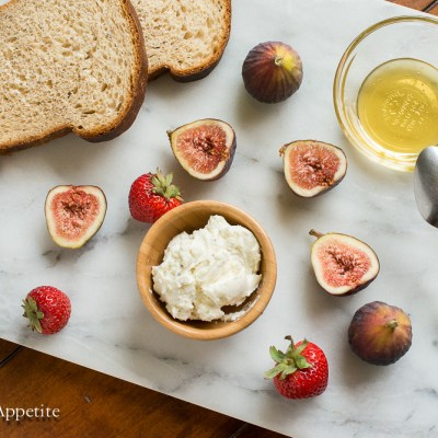 Cardamom Honey Goat Cheese Fig and Strawberry Tartines