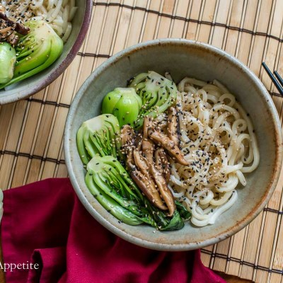 Sesame Udon with Braised Bok Choy and Mushrooms