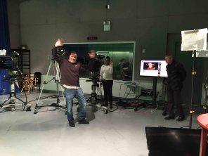 On set with film crew