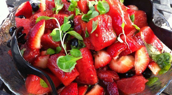 Fresh from the Farm Market: Herbed Potato Salad + Strawberry Watermelon Salad
