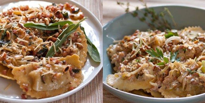 Butternut Squash Agnolotti w/ Brown Butter, Sage & Pine Nuts | Chicken Marsala Ravioli w/ Wild Mushroom & Leeks