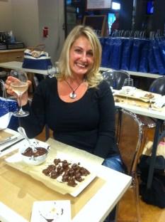 Sampling Prosecco making chocolate