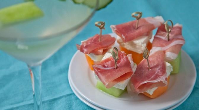 Cool off w/ a Stoli Cucumber-Melon Martini & Prosciutto-Melon-Feta Bites