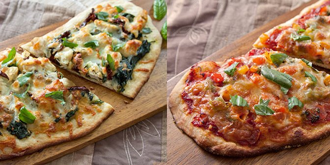 Homemade Rustic Pizzas: Chicken, Garlic, Spinach & Sundried Tomatoes :: Pepperoni, Ham, & Sauteed Veggies