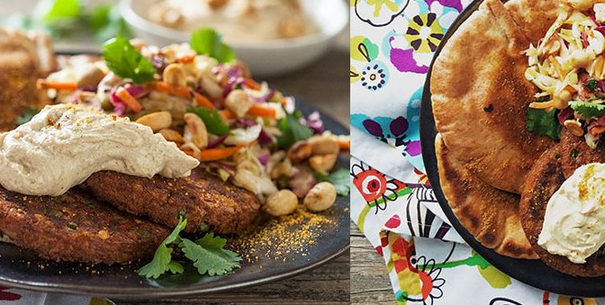 Indian Burgers with Curry Cilantro Slaw & Peanut Satay Yogurt Sauce