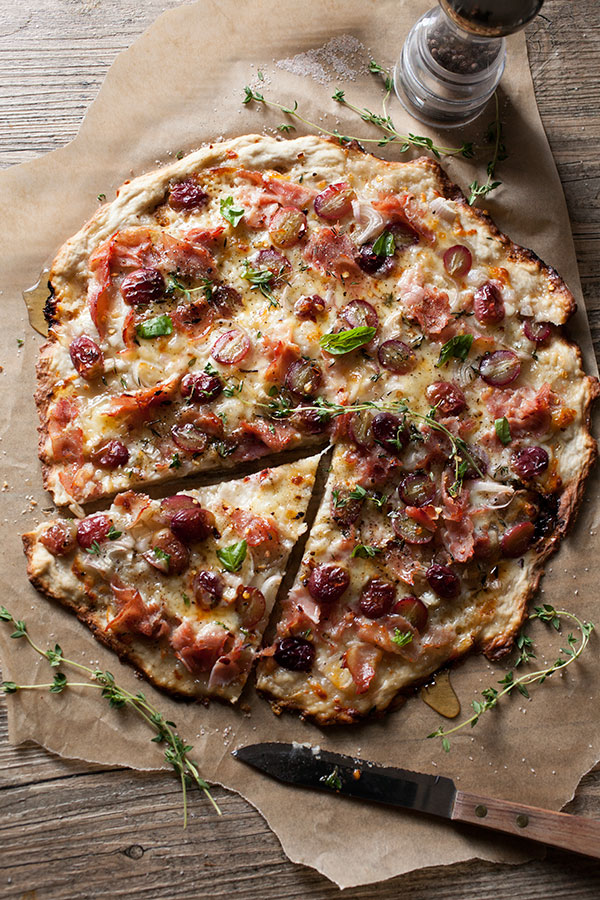Rustic Pizza with Grapes, Shallots, Ham & Thyme