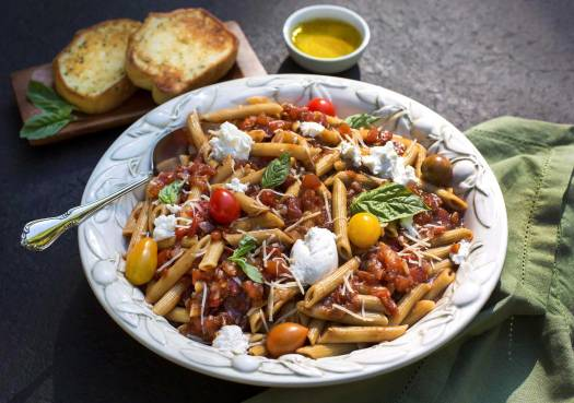 Balsamic Tomato Basil Pasta with Fresh Ricotta
