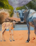 Wildebeest Watch, 102x76cm, Oil on Canvas
