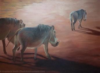 Warthog Shadows, 56x76cm, Oil on Canvas