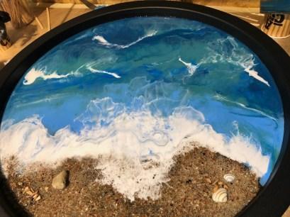 Epoxy beach art tafel gieten