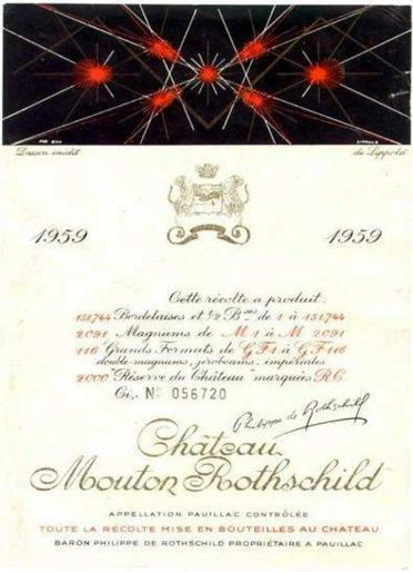 The 1959 Chateau Mouton Rothschild wine label by: Richard Lippold