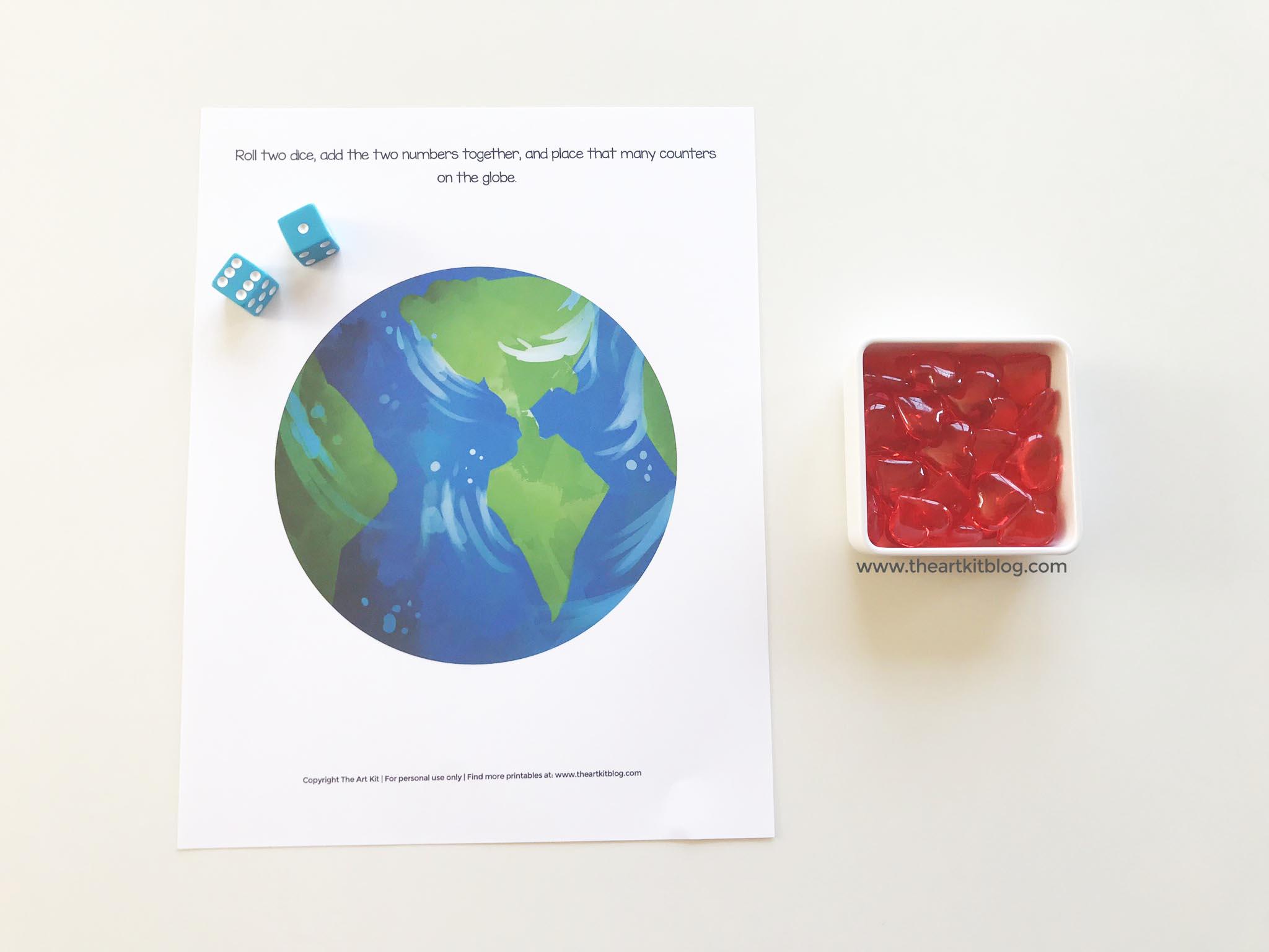 Dice Math Worksheet Earth Day Adding Game Printable