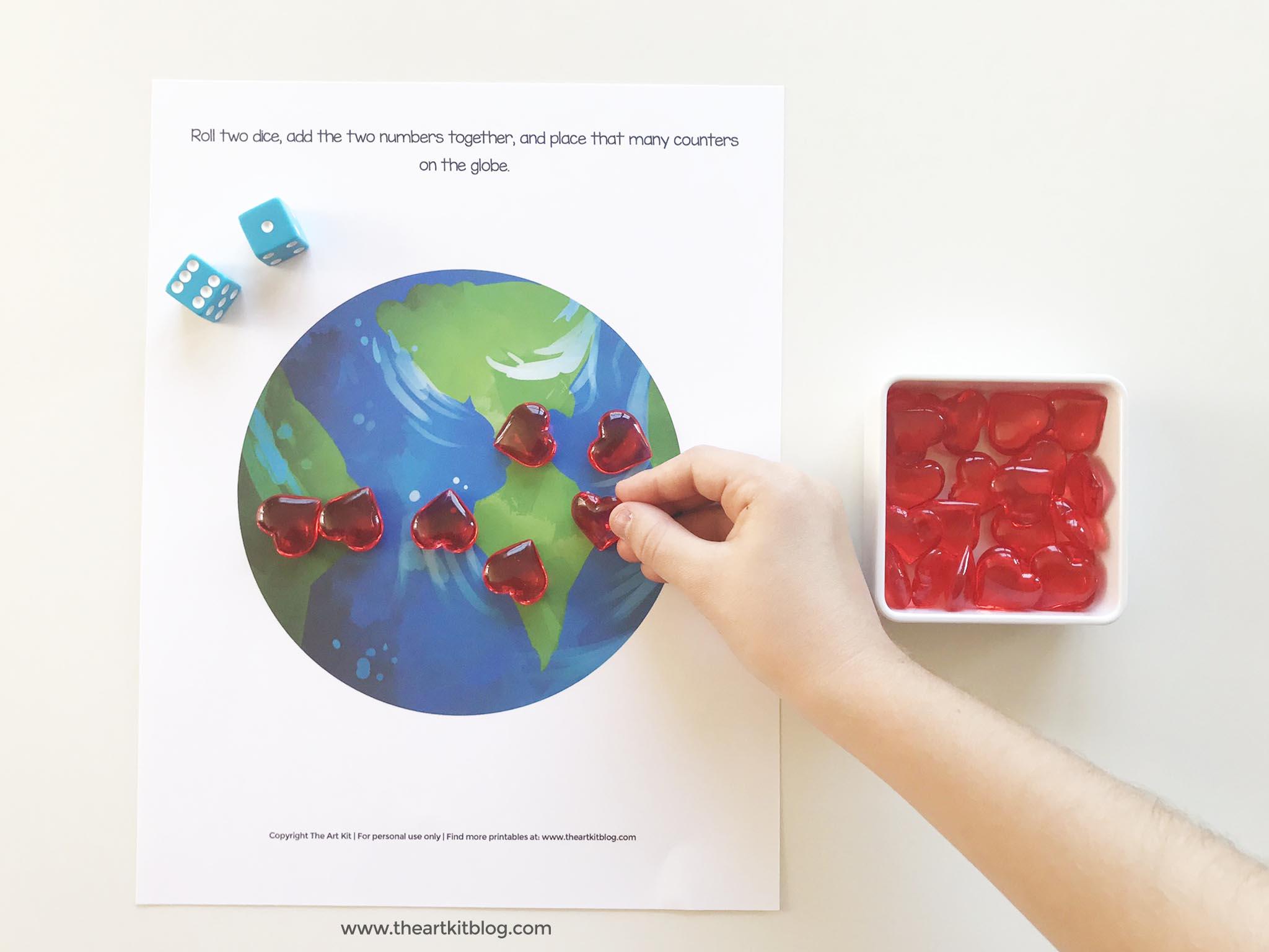 Dice Math Worksheet Earth Day Printable Free