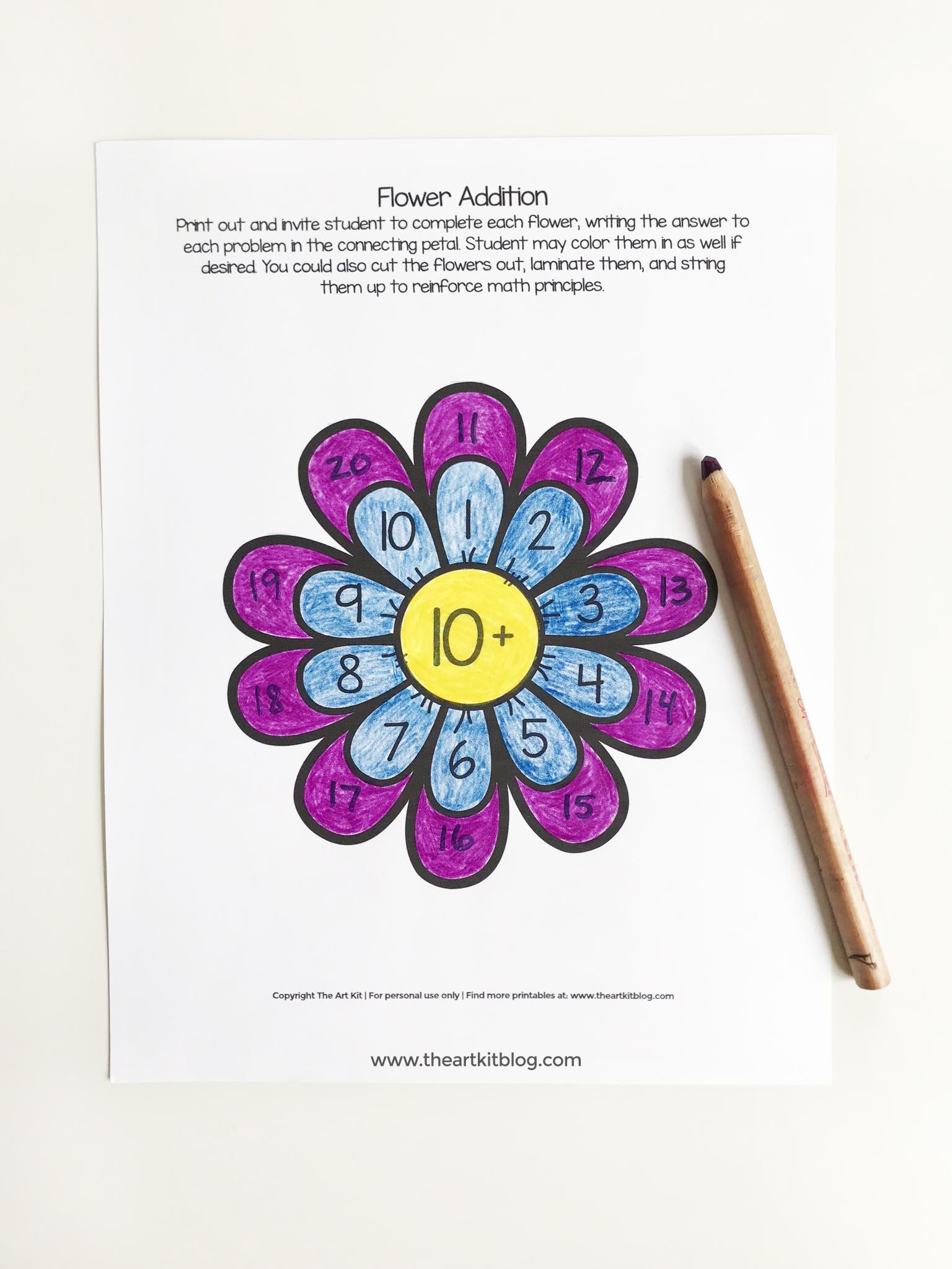 Montessori Addition Fun Math Kids Worksheet Waldorf Flower