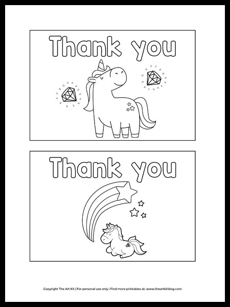 Free Printable Unicorn Thank You Cards To Color The Art Kit