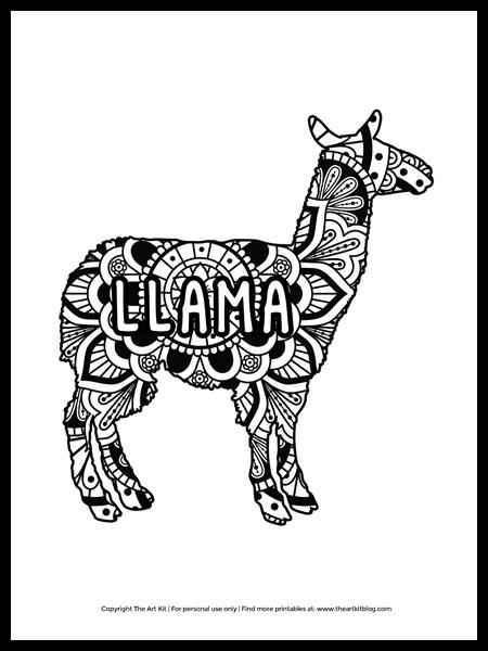 Llama Mandala Coloring Page Free Printable The Art Kit