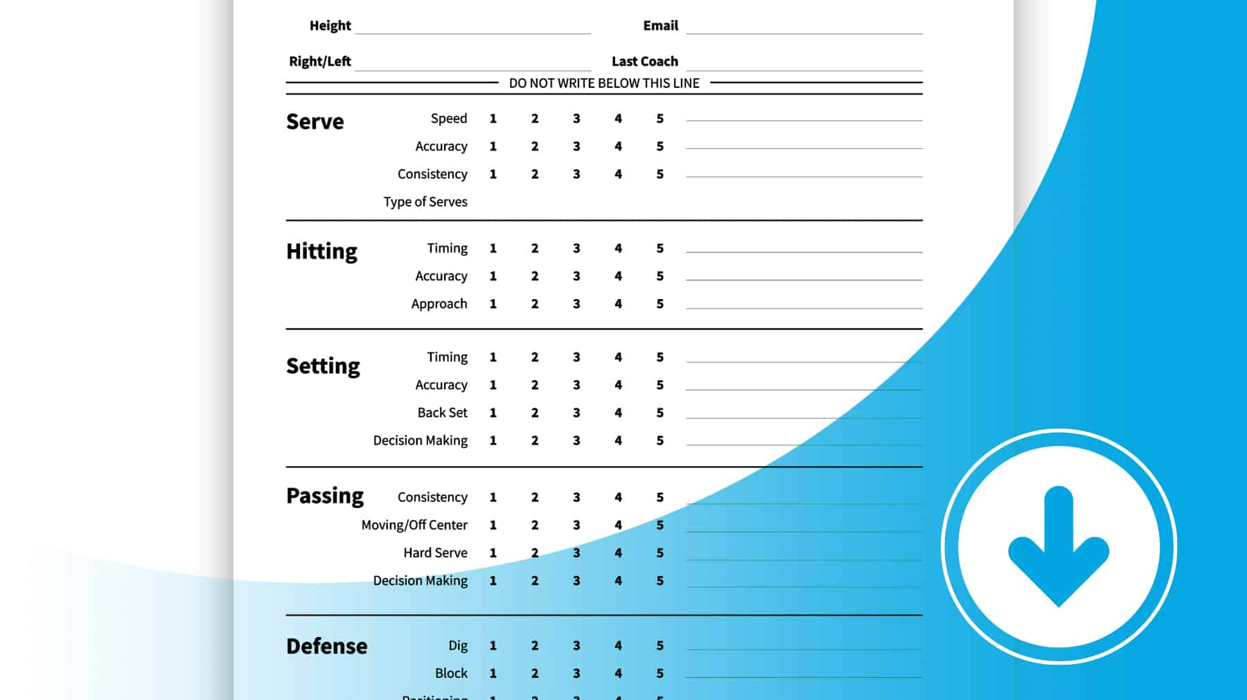 Simple Player Evaluation Form