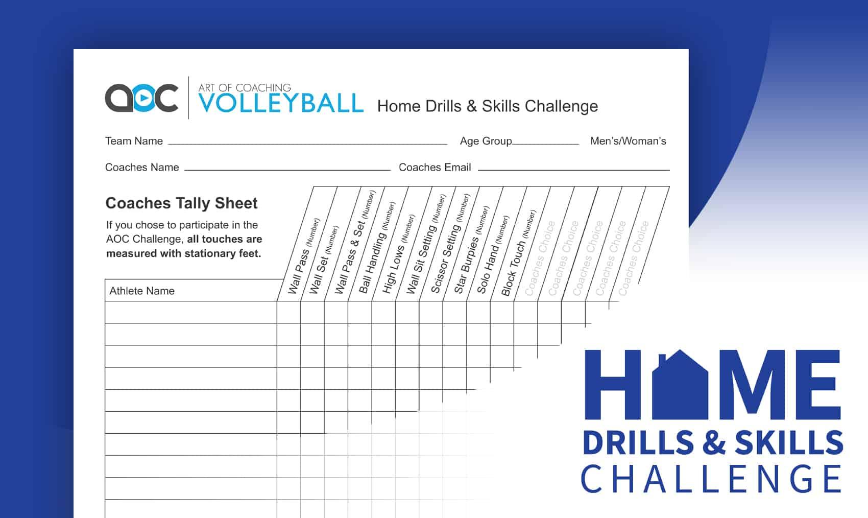 Home Drills Amp Skills Challenge Sheet Coach