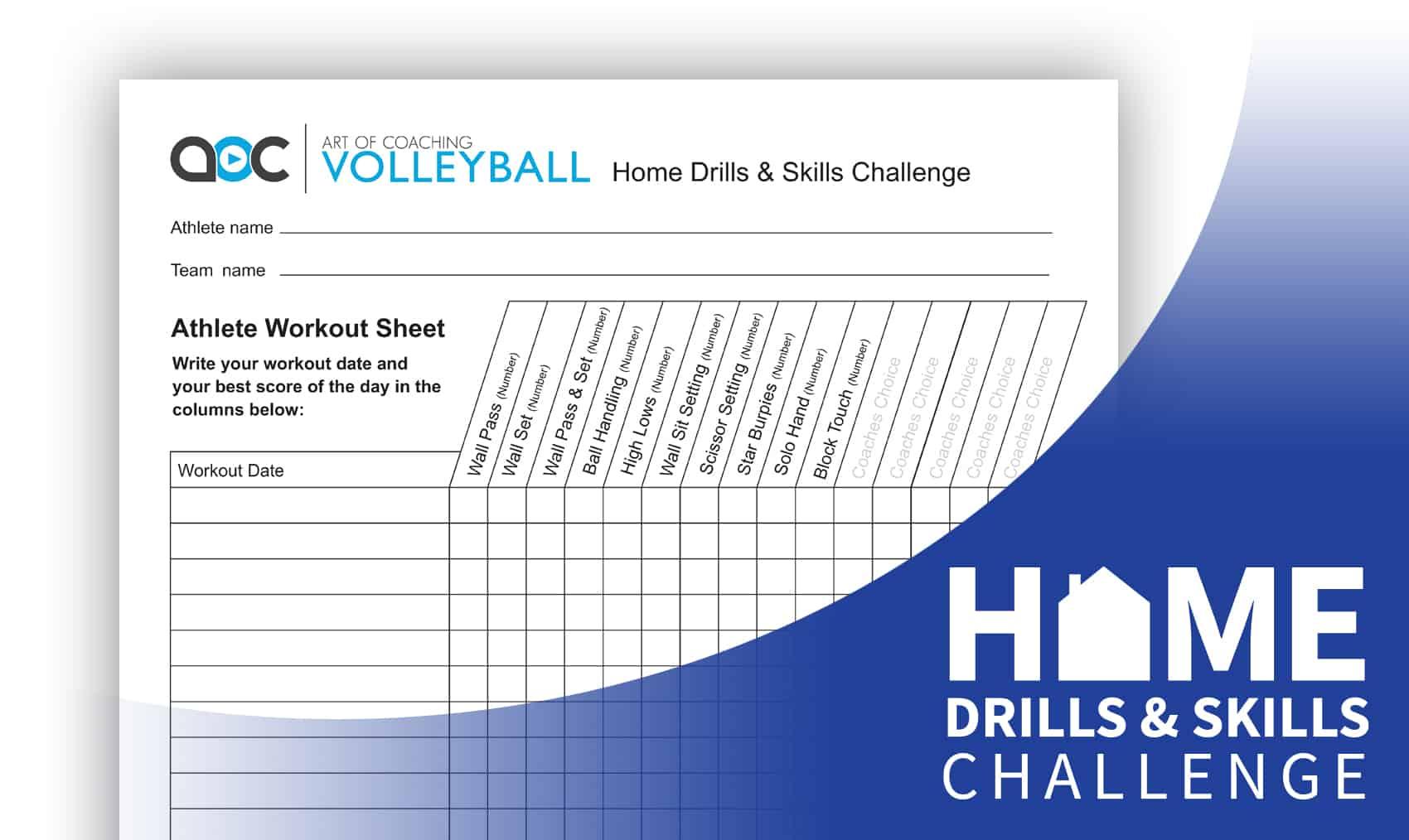 Home Drills Amp Skills Challenge Sheet Athlete