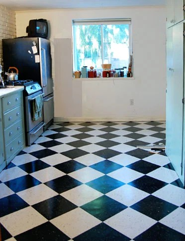 kitchen floor finished laying vct tile