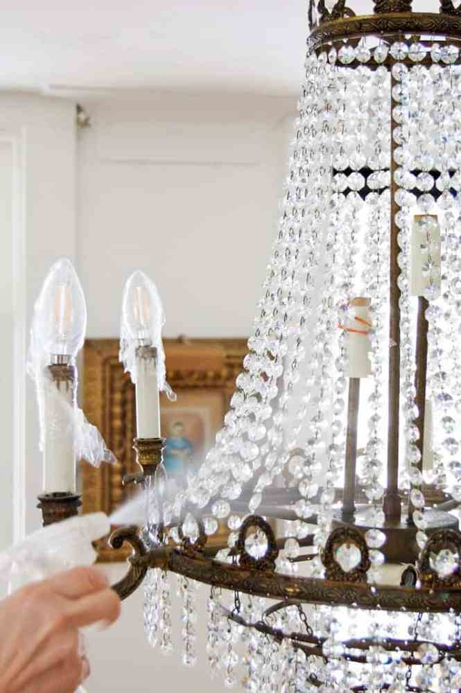 Spray Cleaning Chandelier