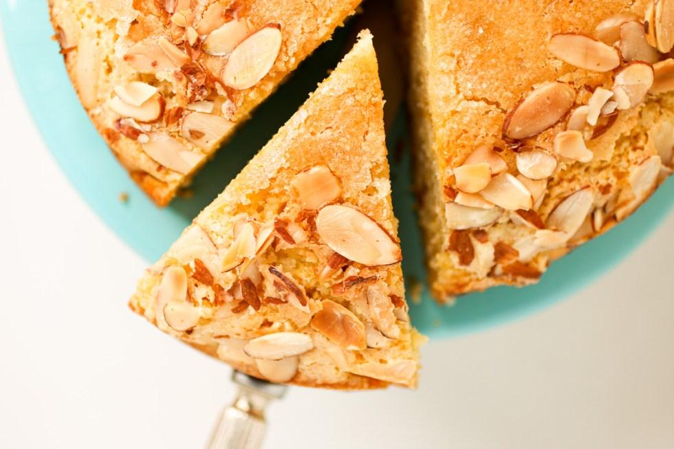 apricot almond cake on cake server