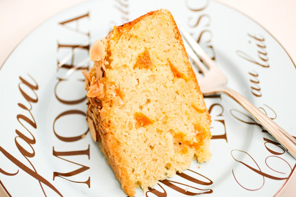 Close up of apricot almond cake on plate