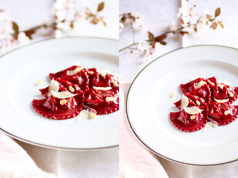 Beet Pasta Ravioli with Ricotta and Radicchio Filling