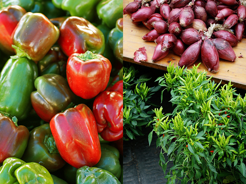 Colorful sun-ripened sweet bell peppers and red Tropea onions brighten up the stands at the farmers market.