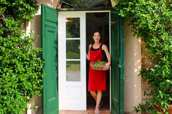 Chef Deborah Dal Fovo at her kitchen door in Tuscany