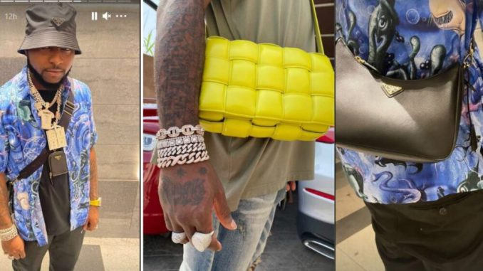 Davido adopts the swag of Burna Boy as he shows off his own feminine bag alongside expensive pieces of Jewellery in some recent photos