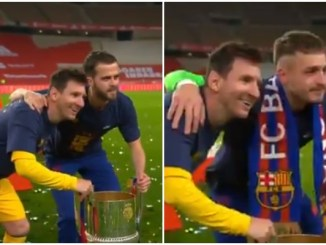 Video: Barcelona players act like star-struck fans as they queue up for photos with Lionel Messi
