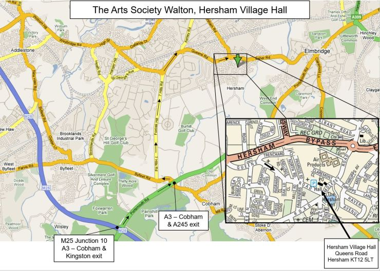 Route from M25 to Hersham Village Hall