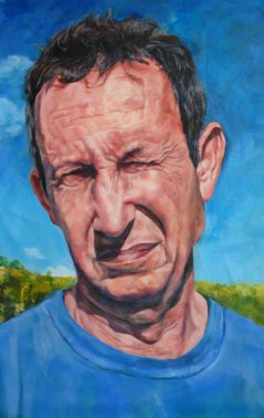 art-teacher-new-york-audrey-gair-painting man squinting in the sun outside with blue background face