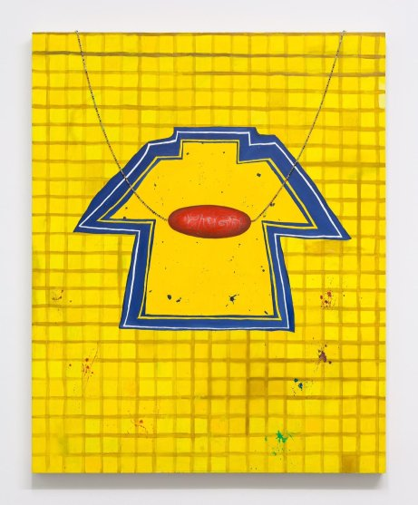 art-teacher-new-york-audrey-gair painting yellow t-shirt abstract with overlapping pendant