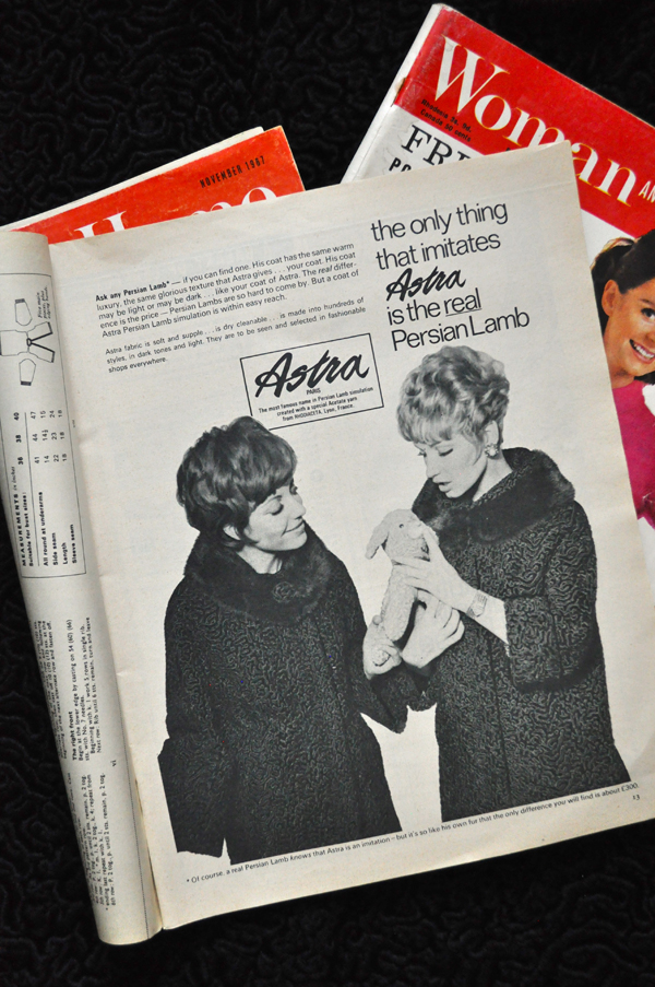 the artyologist- image of advertisement for vintage 1967 astra fur coat from Woman and Home magazine